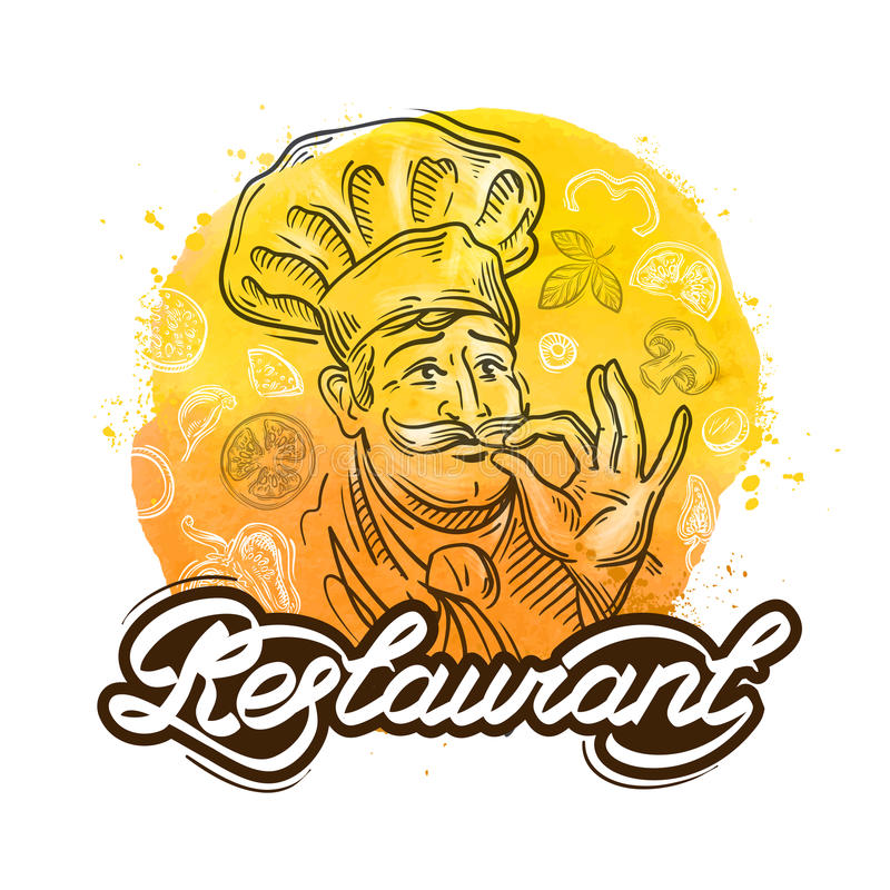 Restaurant vector logo design template. cook, chef or menu icon. Hand-drawn merry chef and the food. vector illustration royalty free illustration