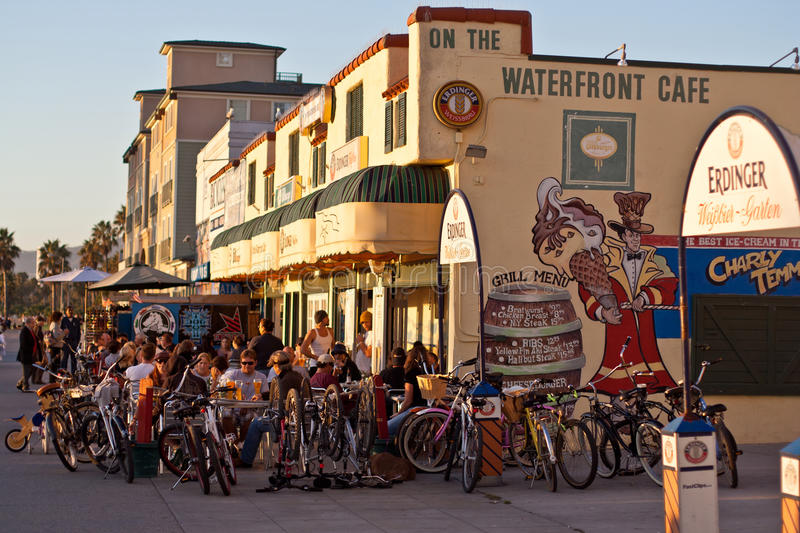 Restaurant on Venice Boardwalk, Los Angeles stock photography