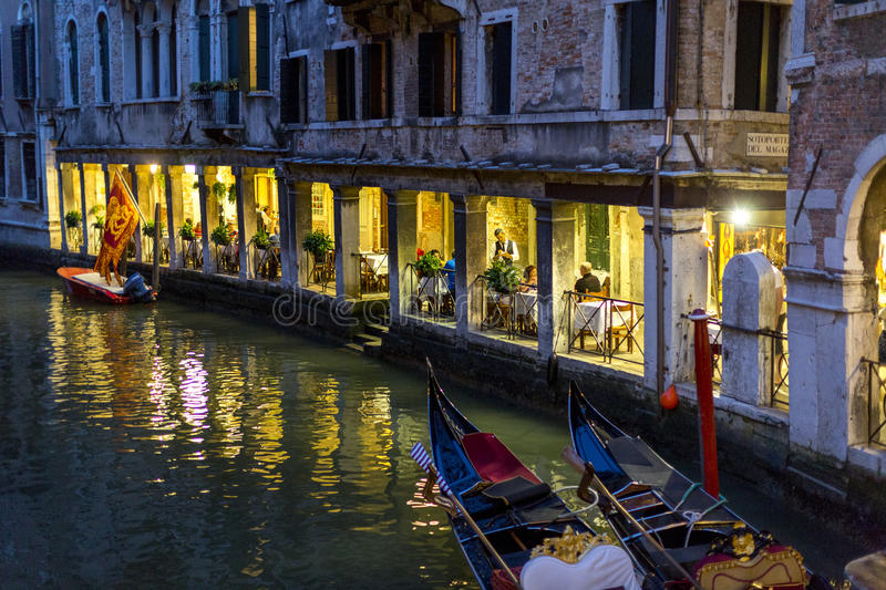 Night View of Restaurant in Venice, Italy royalty free stock photos