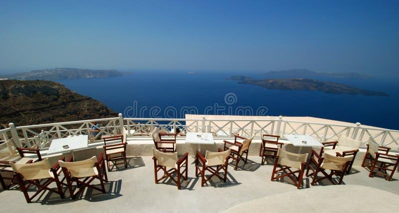 Restaurant view over the caldera stock photos