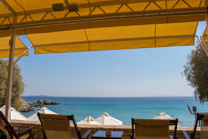 Restaurant view towards ocean royalty free stock images