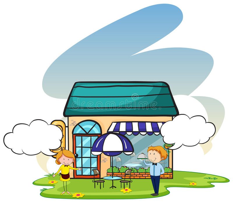 Restaurant. Waiter and waitress standing outside a restaurant welcoming vector illustration