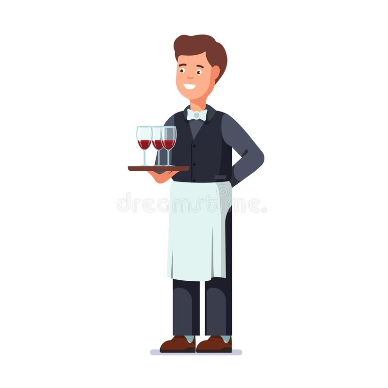 Restaurant waiter wearing apron and holding tray stock illustration