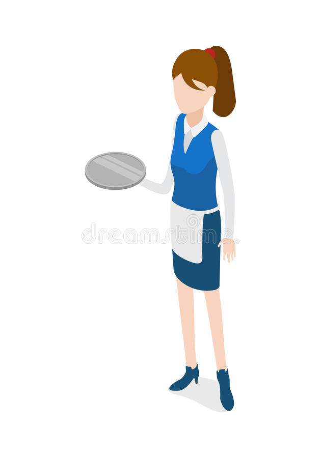 Restaurant. Waitress Holding Round Metal Grey Tray. Waiter isolated. Woman in waiter uniform holding round metal grey tray. Full length portrait of standing vector illustration