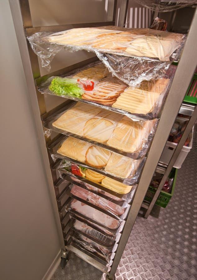 Restaurant walk in refrigerator stock photo