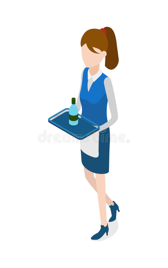 Restaurant. Walking Waitress with Tray in Hands. Restaurant. Isolated woman in waiter uniform holding metal tray. Bottle of beverage standing on salver. Full royalty free illustration