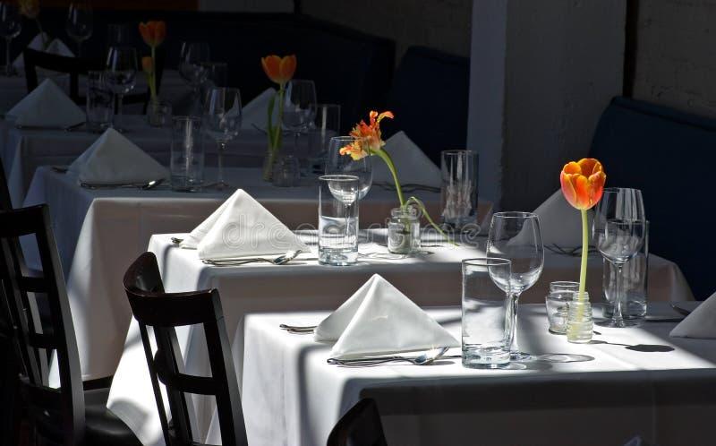 Restaurant White Cloth Tables stock photo