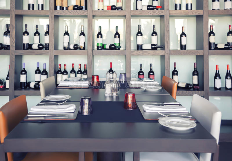 Restaurant with wine decoration stock images