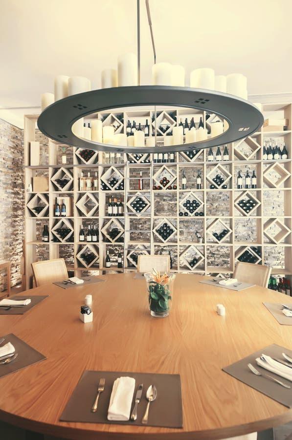 Restaurant with wine decoration stock photo