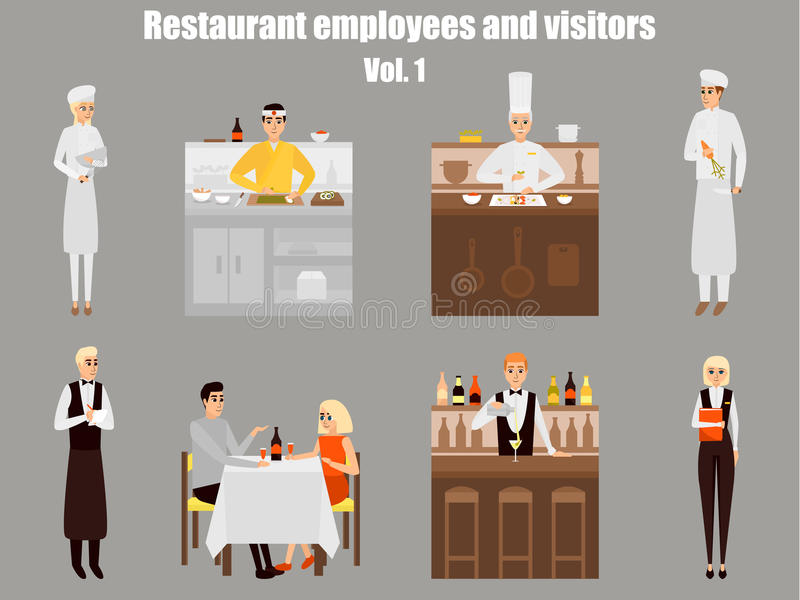 Restaurant workers cartoon characters. People work in restaurant isolated. Japanese cook cooking sushi. Couple on a date. In cafe. Vector illustration in flat royalty free illustration