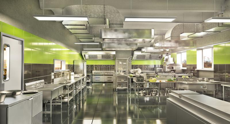 Restaurantausr?stung Moderne industrielle K?che lizenzfreie abbildung