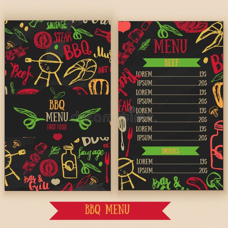 Restaurantbbq menubrochure Vectorkoffiemalplaatje met hand-drawn grafisch BBQ menuvlieger royalty-vrije illustratie
