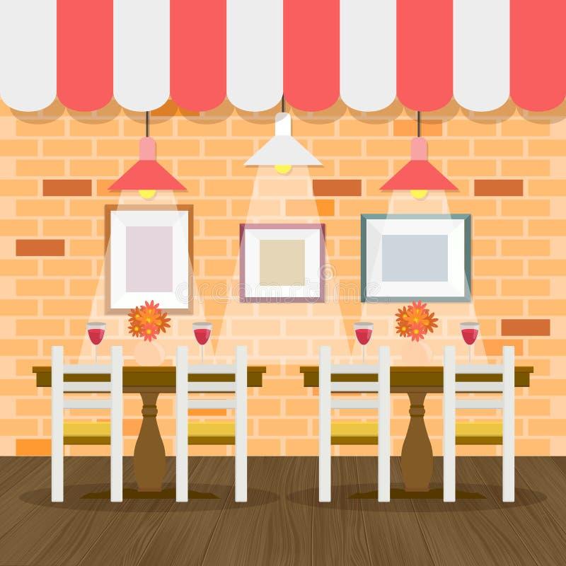 Restaurantbinnenland met bakstenen muur stock illustratie