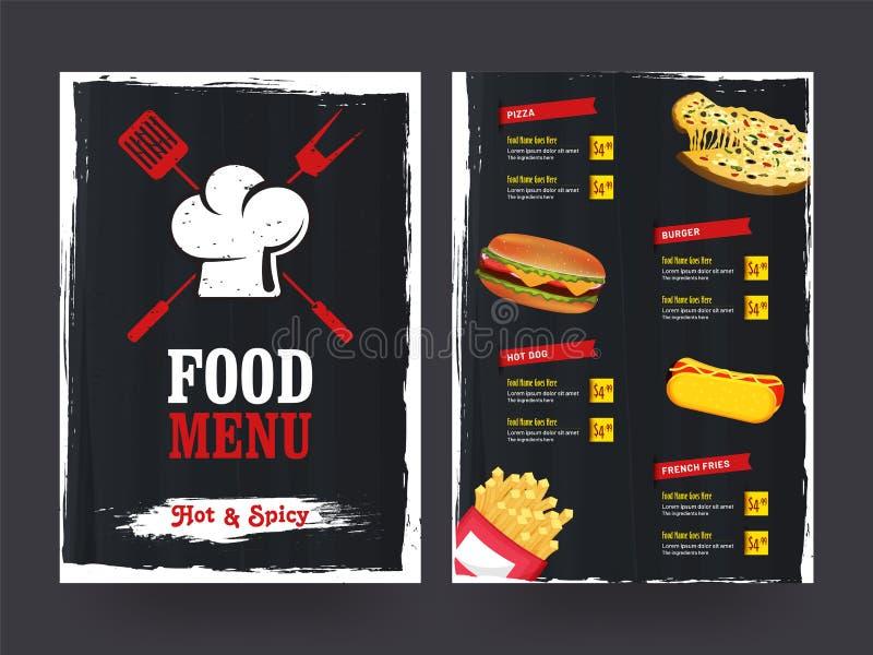 Restaurantcafémenü, Schablonendesign Lebensmittelflieger lizenzfreie abbildung