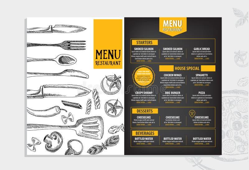 Restaurantcafémenü, Schablonendesign Lebensmittelflieger stock abbildung