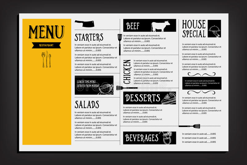 Restaurantcafémenü, Schablonendesign Lebensmittelflieger vektor abbildung