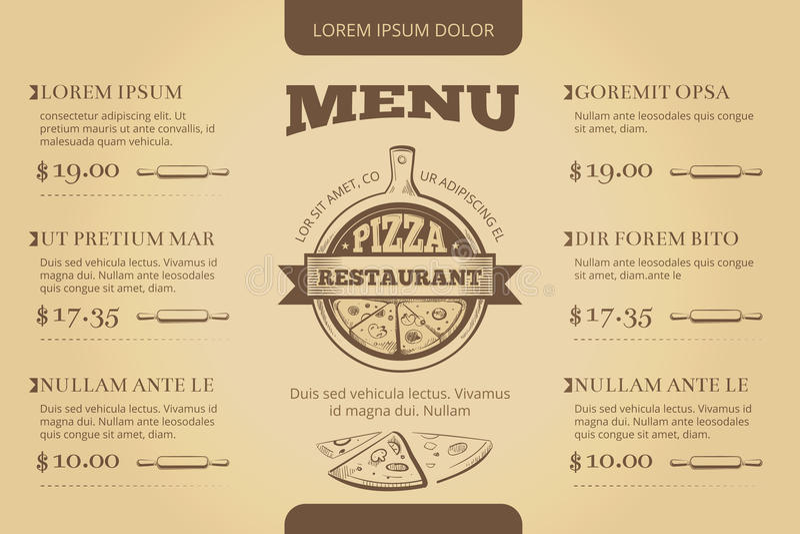 Restaurantcafépizzeriamenüvektor-Schablonendesign lizenzfreie abbildung