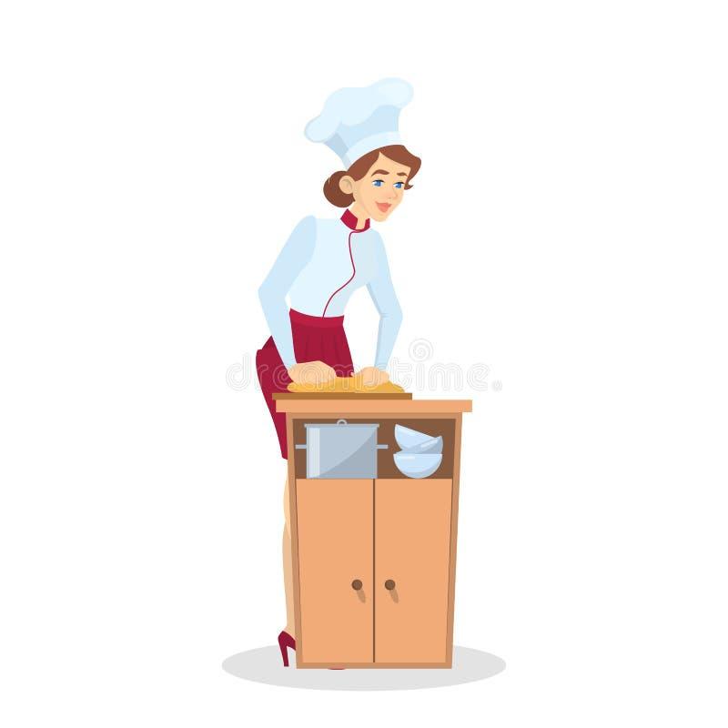 Restaurantchefkochen Frau im Schutzblech, das geschmackvollen Teller macht vektor abbildung