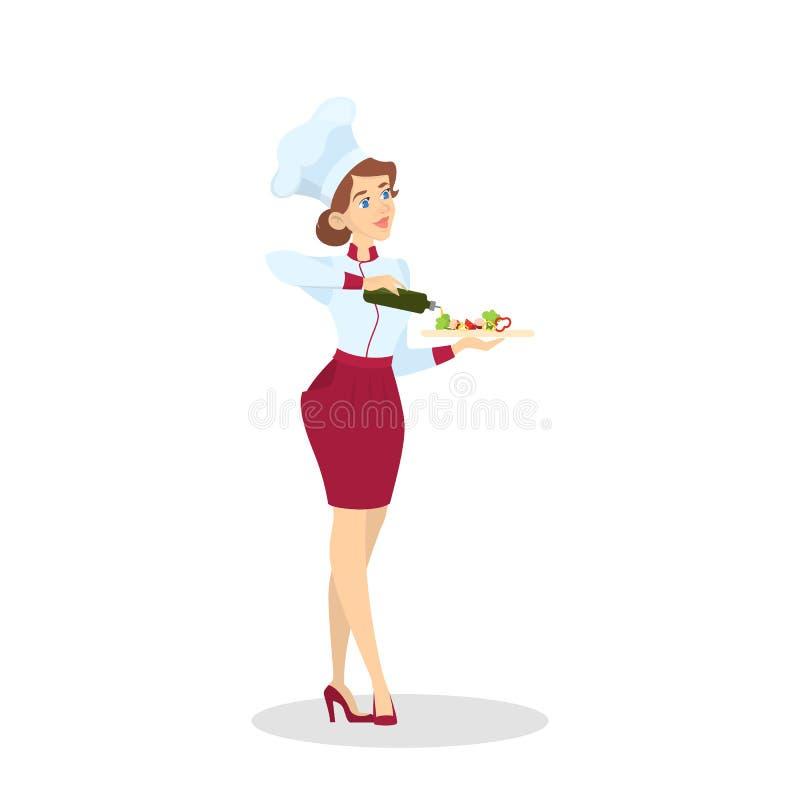 Restaurantchefkochen Frau im Schutzblech, das geschmackvollen Teller macht stock abbildung