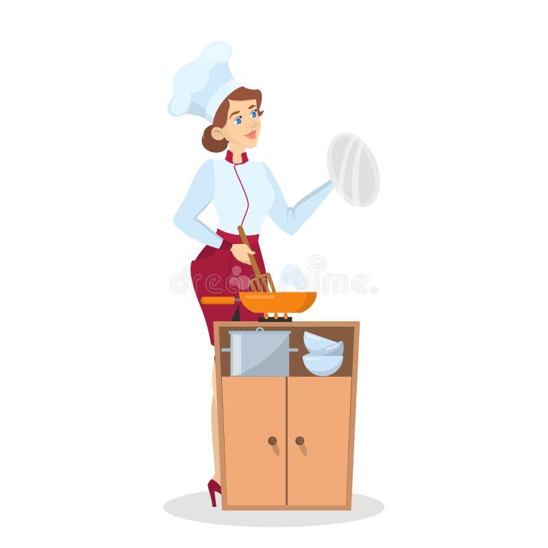 Restaurantchefkochen Frau im Schutzblech, das geschmackvollen Teller macht lizenzfreie abbildung