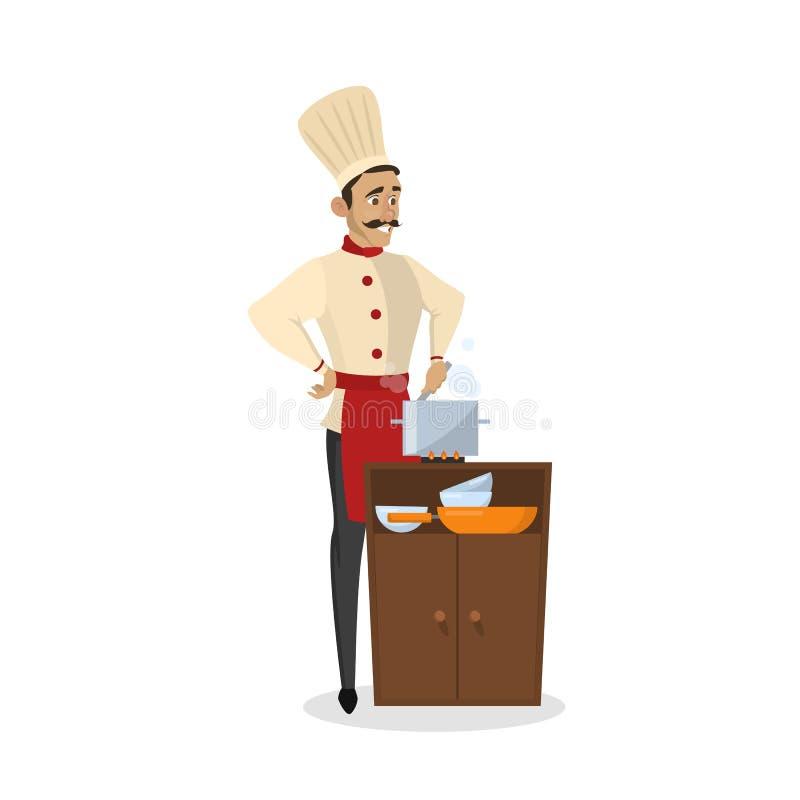 Restaurantchefkochen Mann im Schutzblech, das geschmackvollen Teller macht lizenzfreie abbildung
