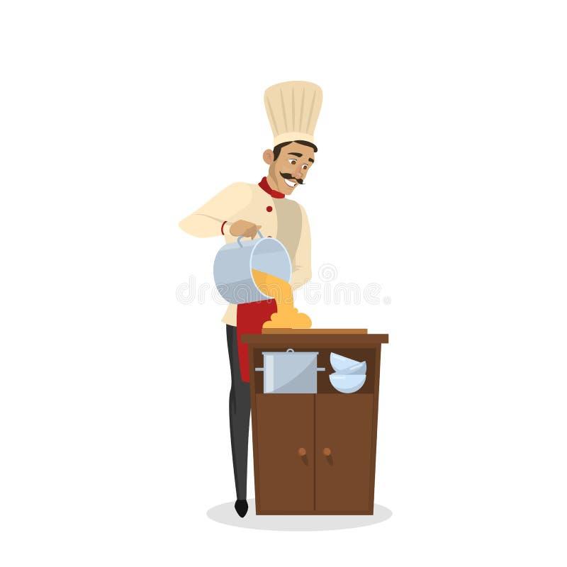 Restaurantchefkochen Mann im Schutzblech, das geschmackvollen Teller macht vektor abbildung