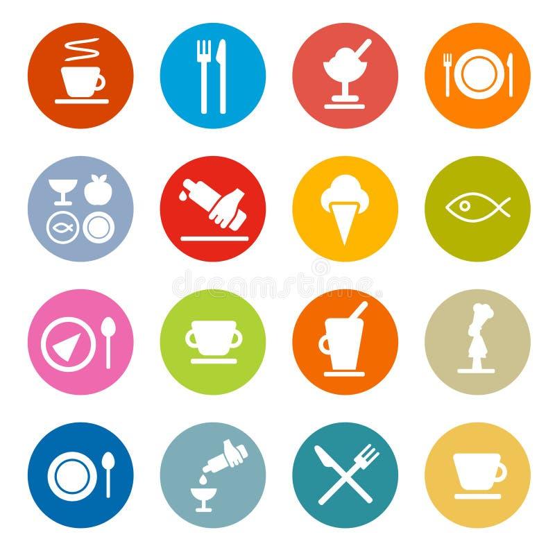 Restaurante - ícones do alimento ajustados ilustração stock