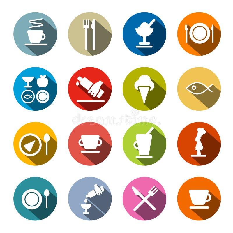 Restaurante - ícones do alimento ajustados ilustração royalty free