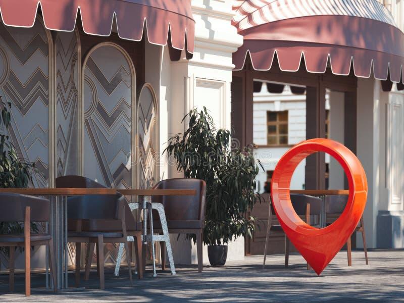 Restaurante acogedor de la calle con el perno rojo del geotag o del mapa representación 3d libre illustration