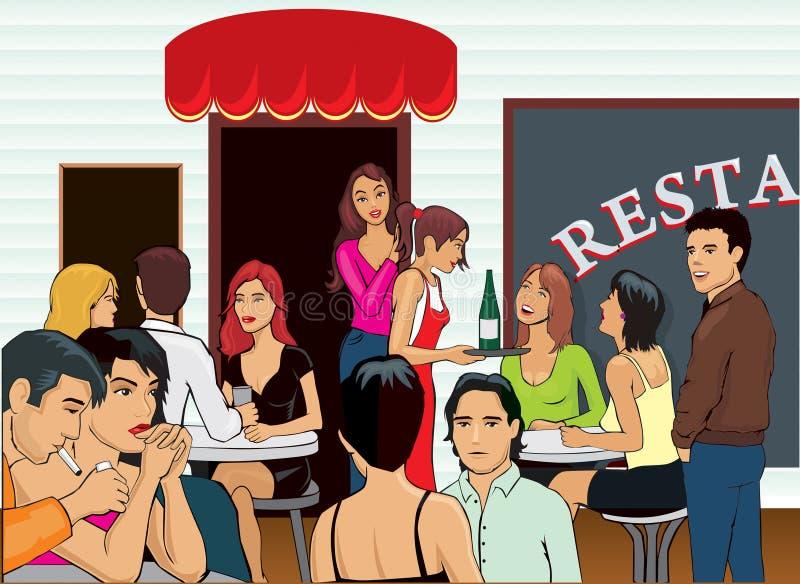 Restaurante aglomerado ilustração royalty free