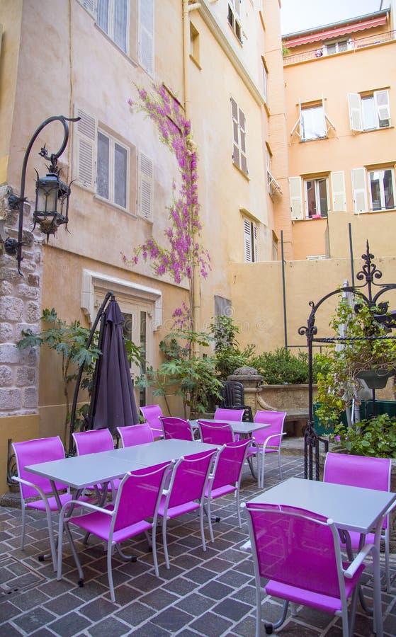 Restaurante al aire libre en Mónaco fotografía de archivo libre de regalías