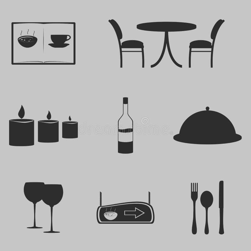 Restaurante antes dos ícones imagem de stock