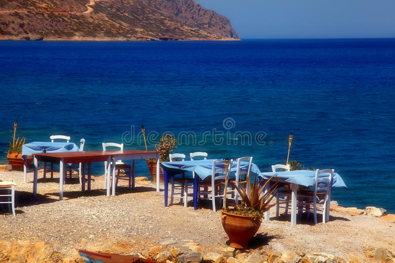 Restaurante ao ar livre grego tradicional Greece fotos de stock royalty free