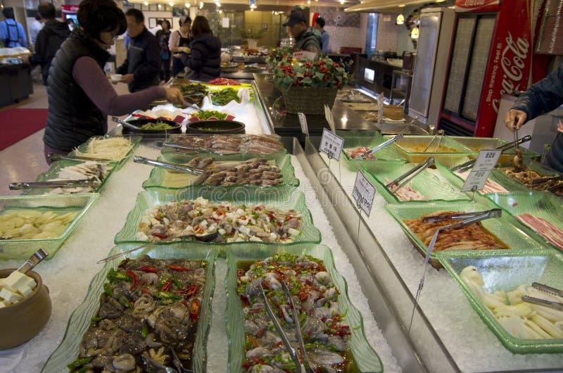 Restaurante Busán de la comida fría de los mariscos imagen de archivo libre de regalías