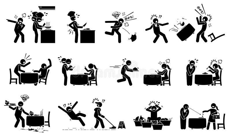 Restaurante caótico y trabajadores ocupados ilustración del vector