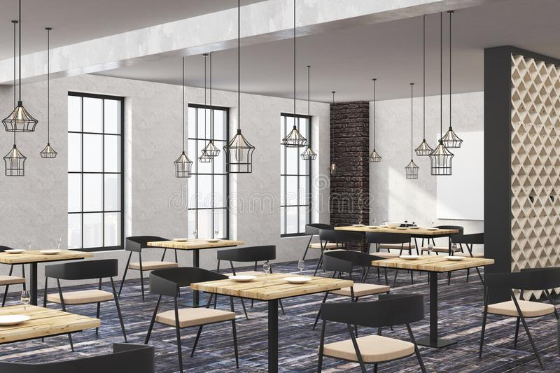 Restaurante contemporáneo del desván con el cartel vacío ilustración del vector