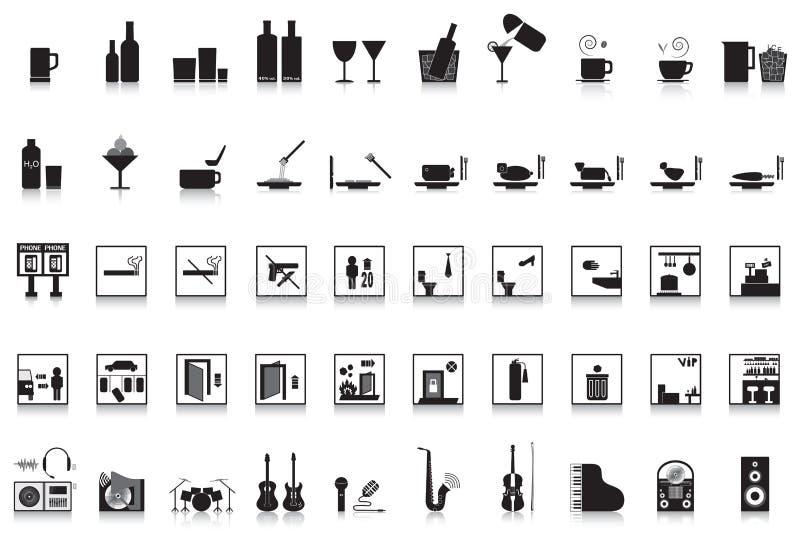 restaurante da barra do bar de 50 ícones ilustração stock