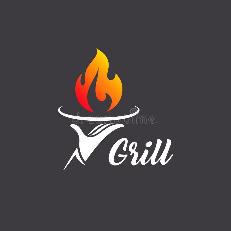 Restaurante da grade do projeto do logotipo do vetor grelhar barbecue ilustração do vetor