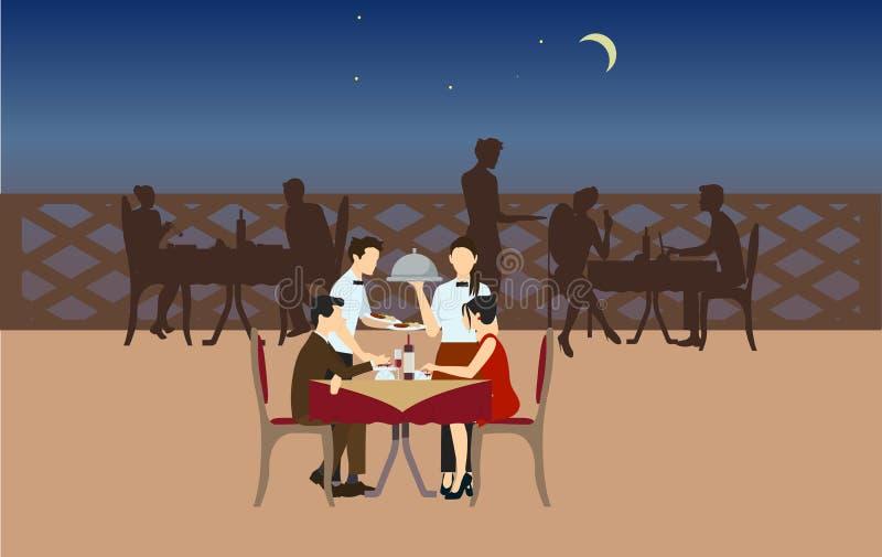 Restaurante da noite ilustração royalty free