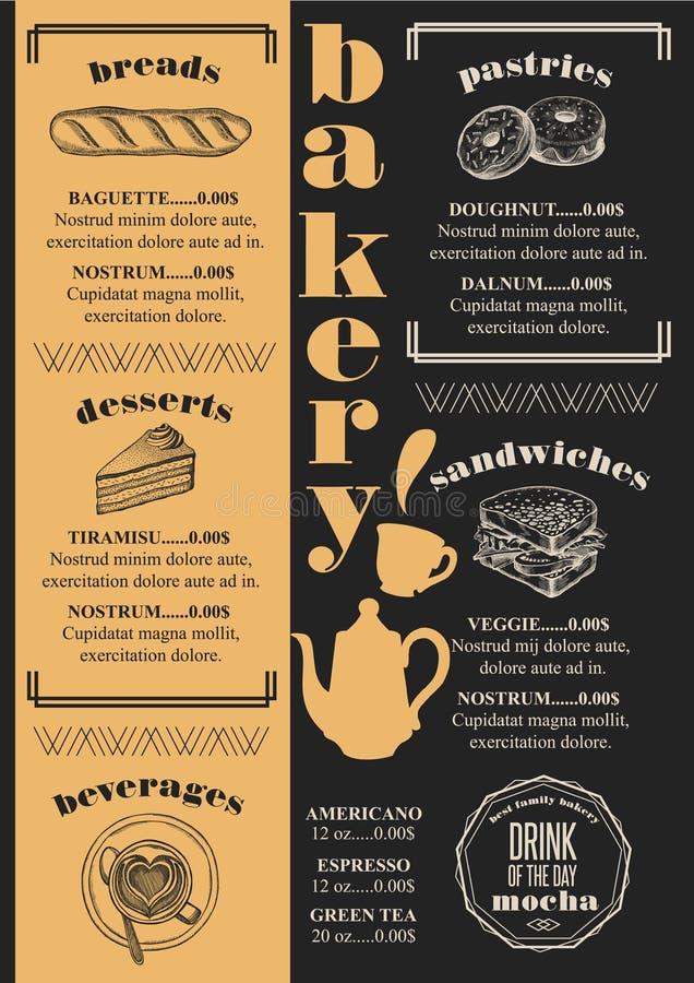 Restaurante da padaria do menu, placemat do molde do alimento ilustração do vetor