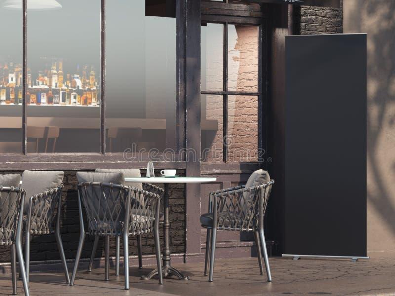 Restaurante da rua com a bandeira preta do rollup rendição 3d ilustração royalty free