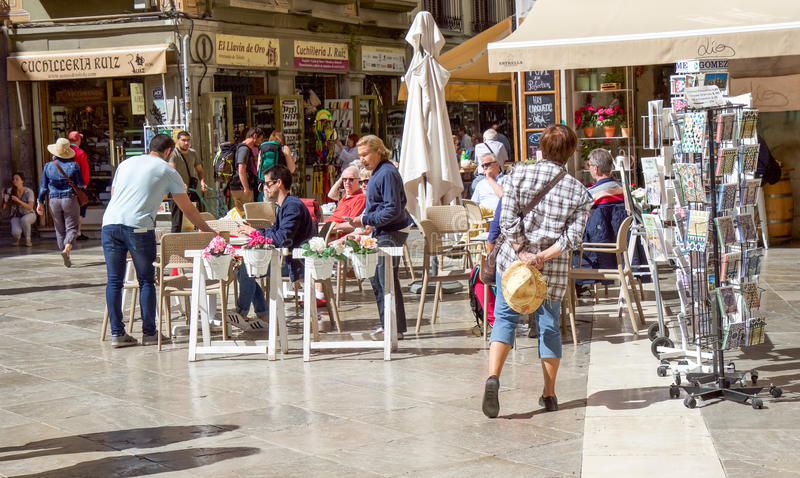 Restaurante da rua de Granada fotografia de stock royalty free