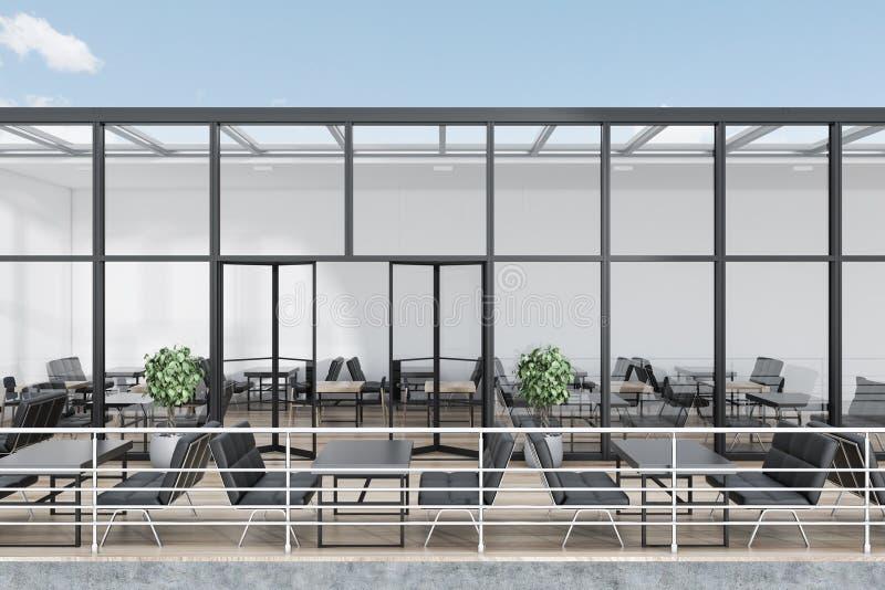 Restaurante de cristal del tejado con una terraza stock de ilustración