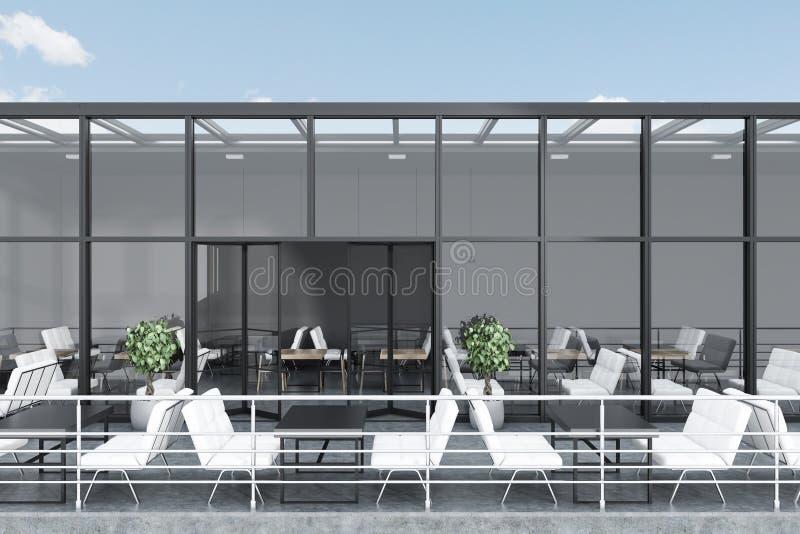 Restaurante de cristal gris del tejado con una terraza ilustración del vector