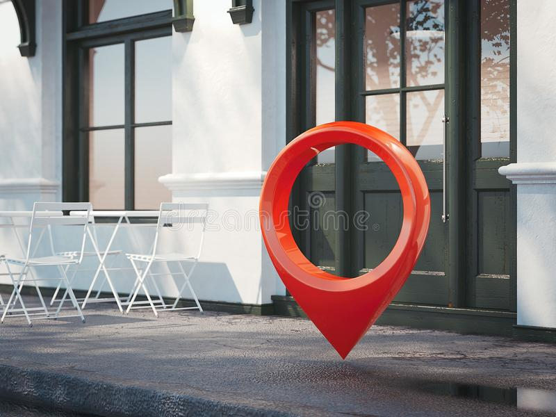 Restaurante de la calle con el perno rojo del geotag o del mapa representación 3d ilustración del vector