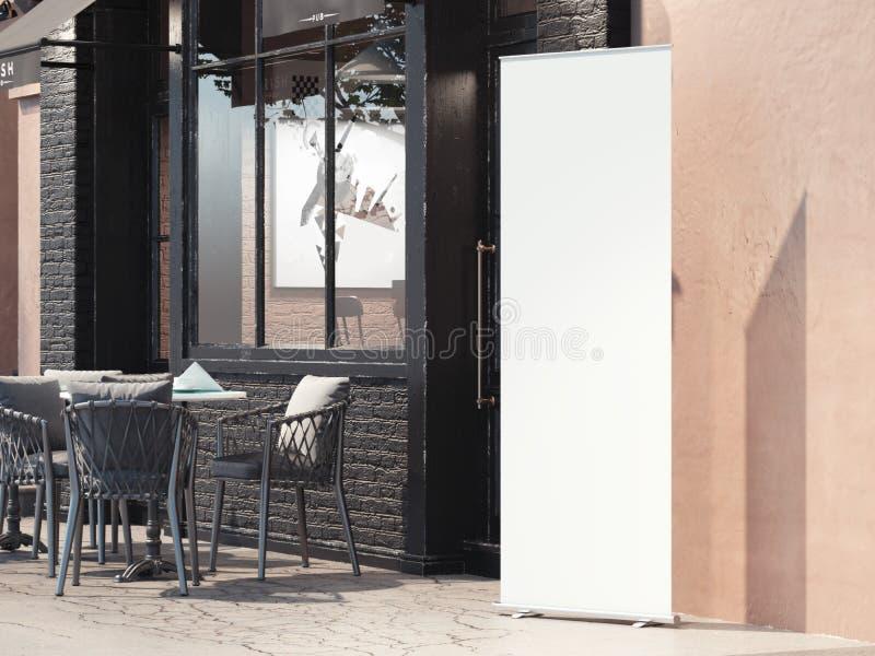 Restaurante de la calle con la bandera blanca del rollup representación 3d stock de ilustración