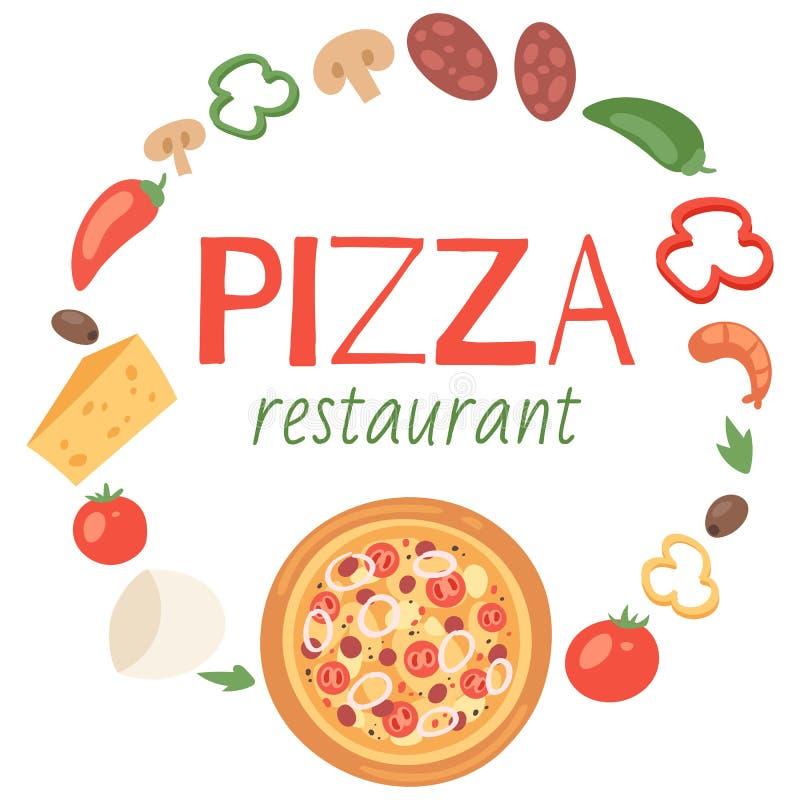 Restaurante de la pizza con la bandera de los ingredientes, ejemplo del vector del cartel Comida superior con las salchichas, que stock de ilustración