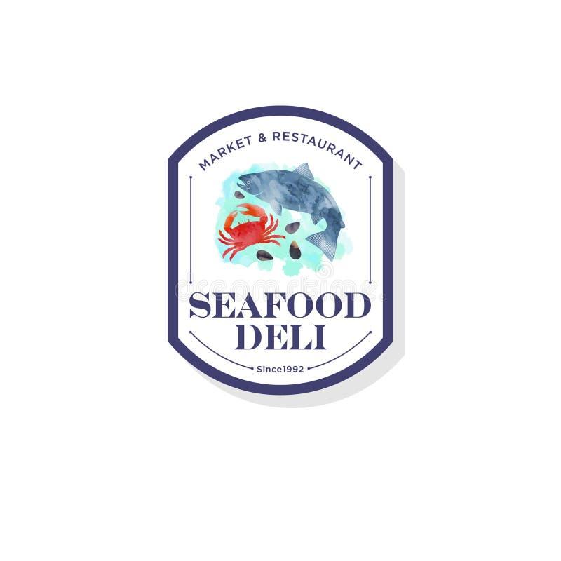 Restaurante de los mariscos y logotipo del mercado Cangrejo rojo, cáscaras, ejemplo de color salmón de la acuarela de los pescado ilustración del vector
