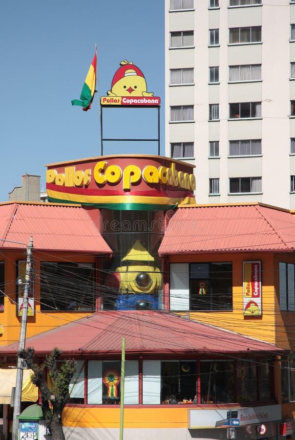 Restaurante de Pollos Copacabana em La Paz fotografia de stock royalty free