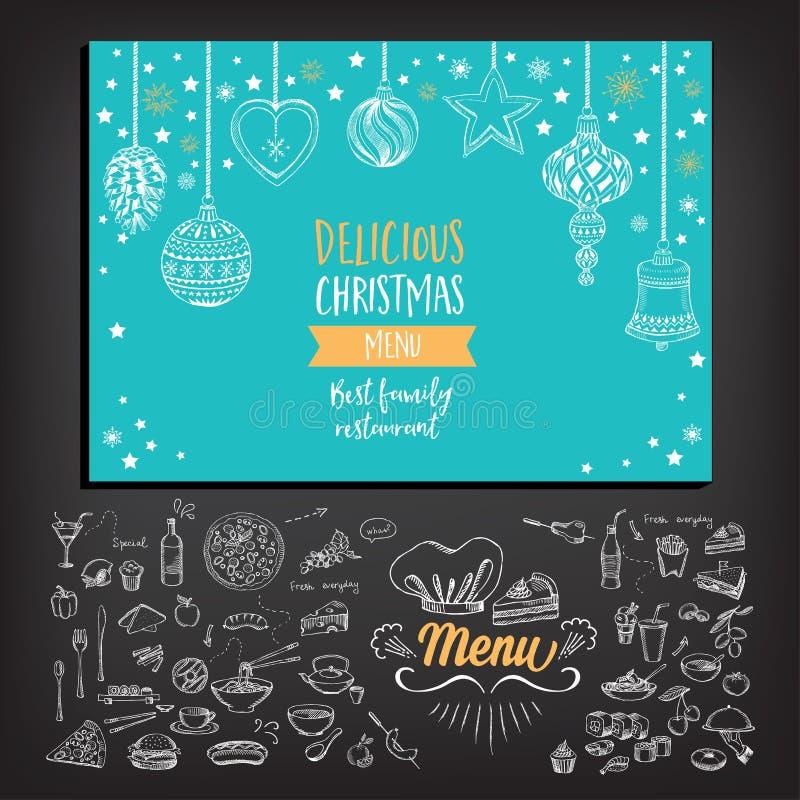 Restaurante do convite da festa de Natal Inseto do alimento ilustração do vetor